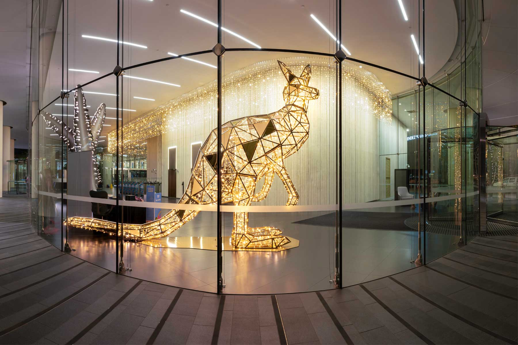 Four metre tall faceted Kangaroo lighting display and curtain lighting making up part of the Christmas display for the Mia Yellagonga corporate building in Perth