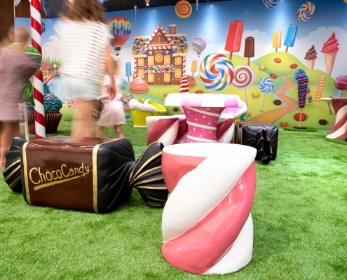 Children enjoying the Candyland play space created as a tenancy activation for Cockburn Gateway Shopping Centre