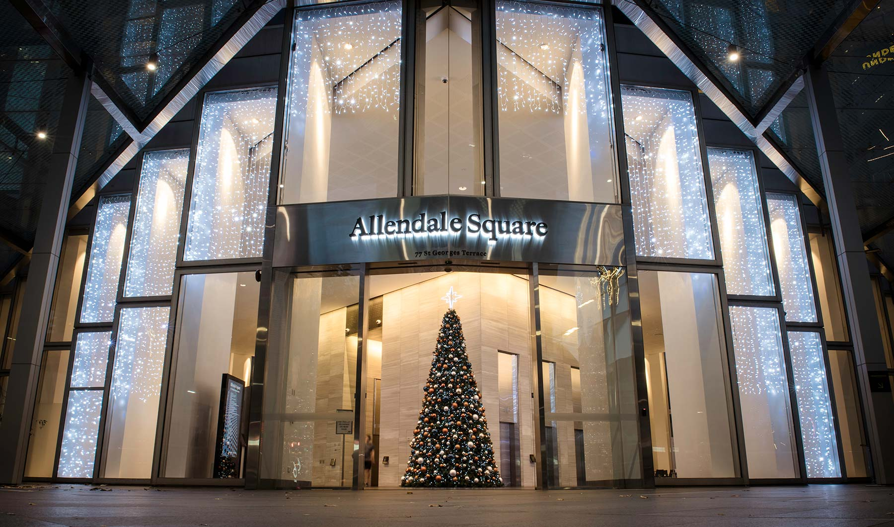 External view of Allendale Squar Christmas decorations including 6m tall Christmas tree and cool white curtain lights