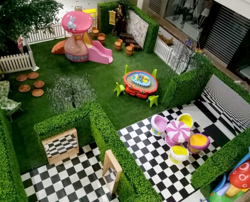 Overhead view of Wonderland Kid's Activity area featuring pirate dress ups, crazy mirrors, kinetic sand table and teapot slide at Mandurah Forum shopping centre