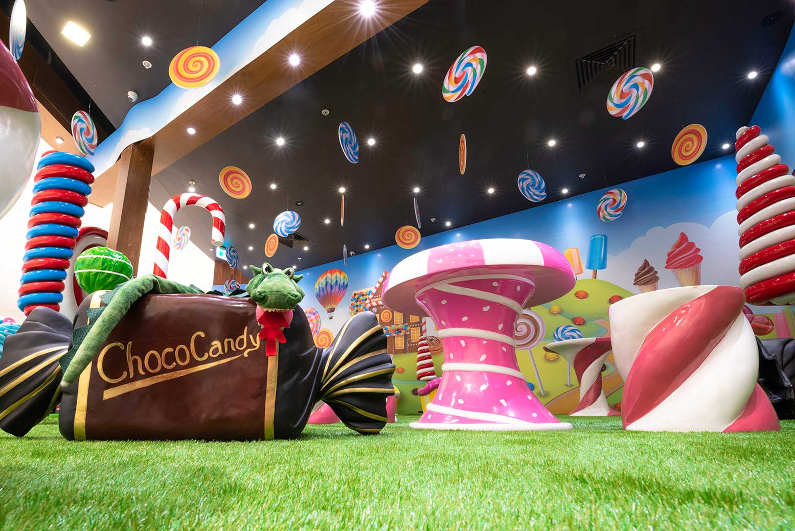 Candyland themed tenancy activation at Cockburn Gateway Shopping Centre