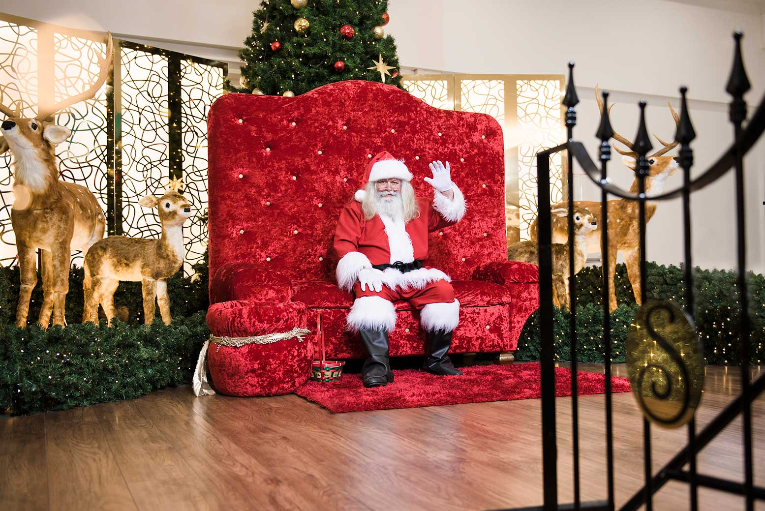 Santa Claus and his reindeer in the Santa Set at Stockland Riverton Shopping Centre