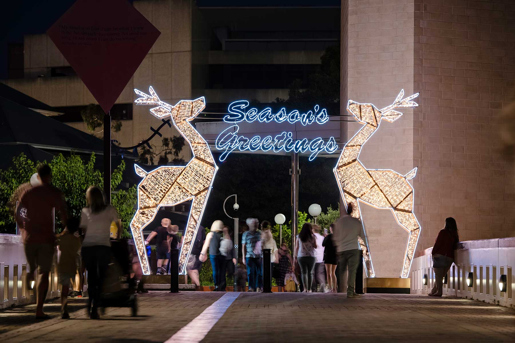 Seasons Greetings, Reindeer Arch at Perth Cultural Centre - starting point of the Perth Christmas Lights Trail in 2019