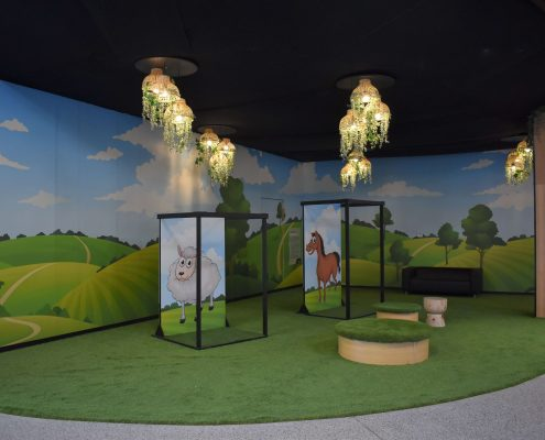 Pop-up kids zone featuring animal selfie stations
