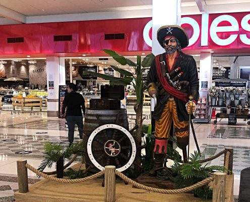 Pirate treasure hunt display during school holiday activation at Cockburn Gateways Shopping Centre
