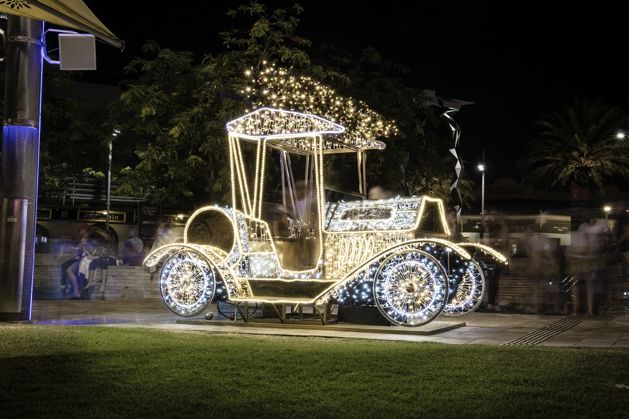Special lighting display featuring a vintage style car with a Christmas tree on the roof for the 2019 Perth Christmas Lights Trail