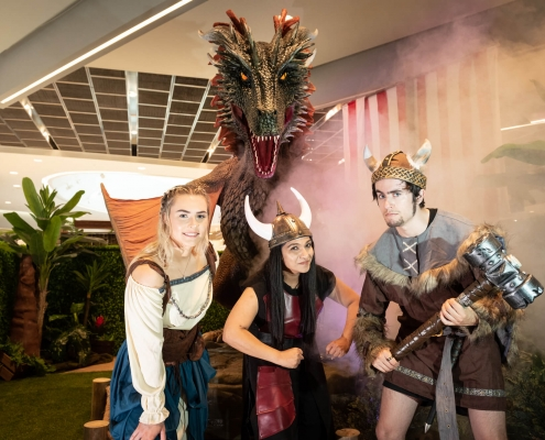 Animatronic Dragon and Vikings in the Dragon's Lair at Cockburn Gateway Shopping Centre