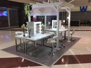 Pop-up beauty salon installation for shopping centre promotion at Cockburn Gateway Shopping City