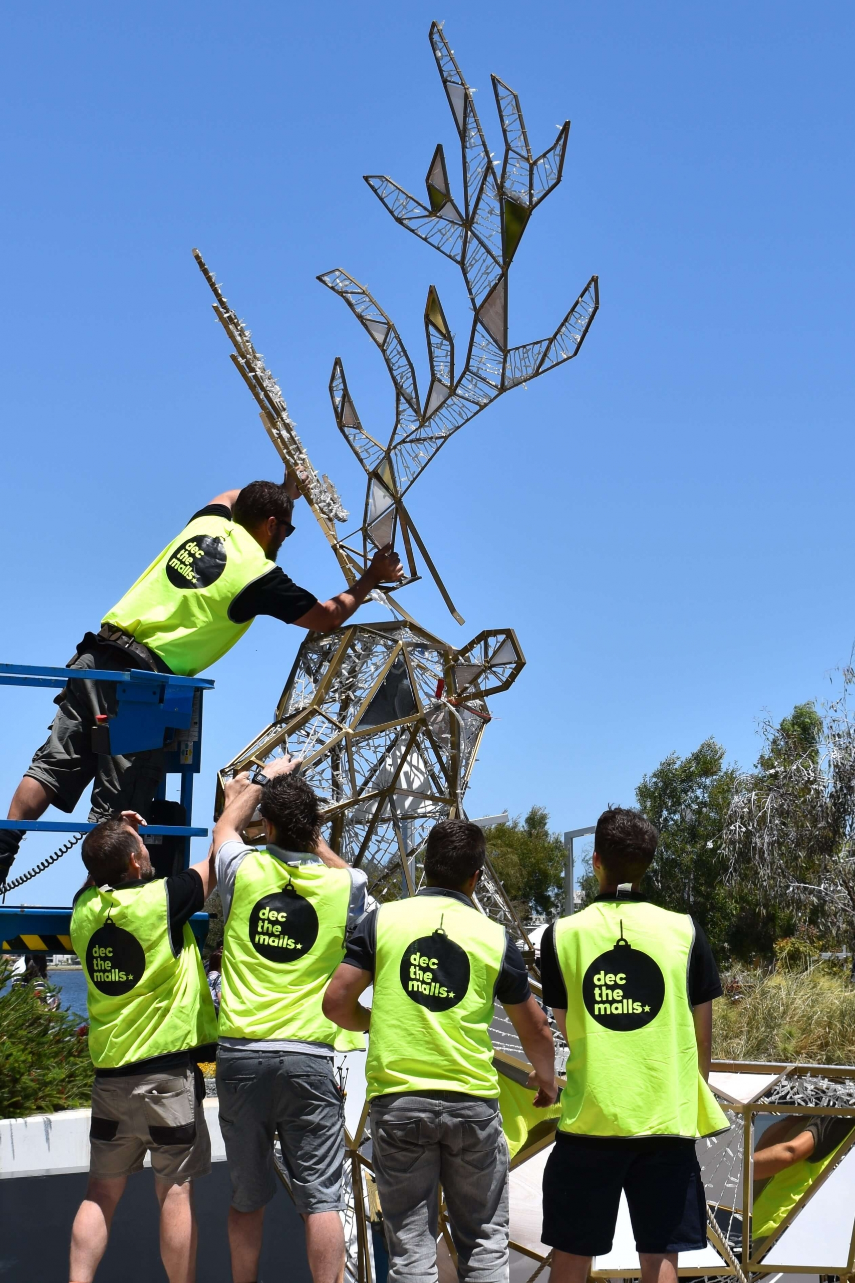 Installation of reindeer at Elizabeth Quay for the Perth Christmas Lights Trail in 2019